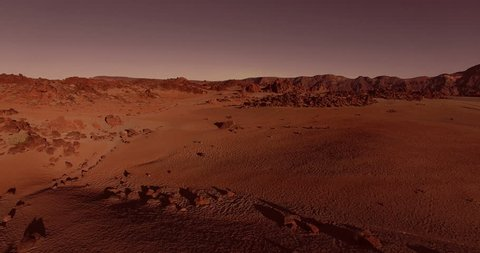 AERIAL flying forward above dramatic surface of planet Mars (artistic rendering)