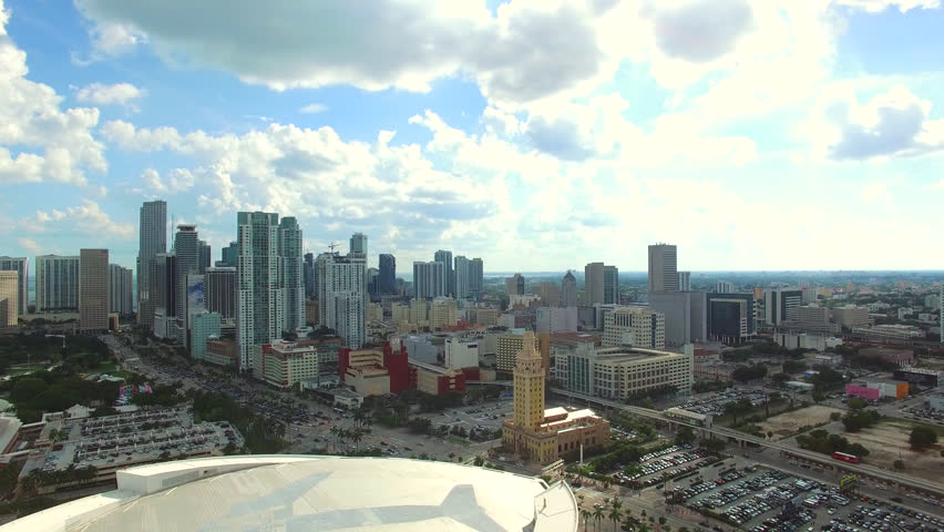 Aerial 4K view Miami Downtown and American Airlines Arena - home to Miami Heat Basketball Team, Miami, Florida, USA