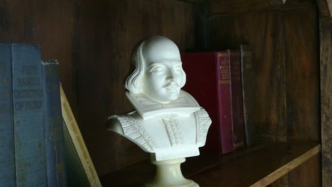 Jib shot of a Shakespeare bust in a wooden bookcase with old books on shelves.