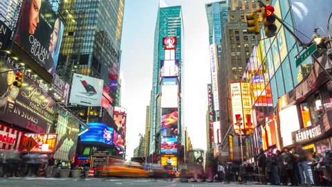 NEW YORK CITY - April 14, 2014: Time lapse of Times Square. Zoom in.
