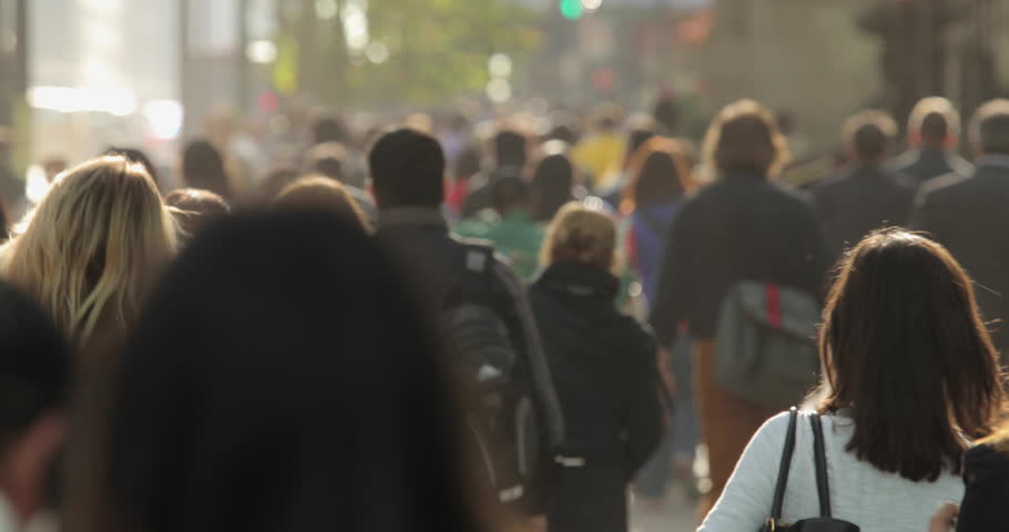 NEW YORK - CIRCA OCTOBER 2015: Crowd of commuter people walking street in the morning   Shutterstock HD Video #12221714