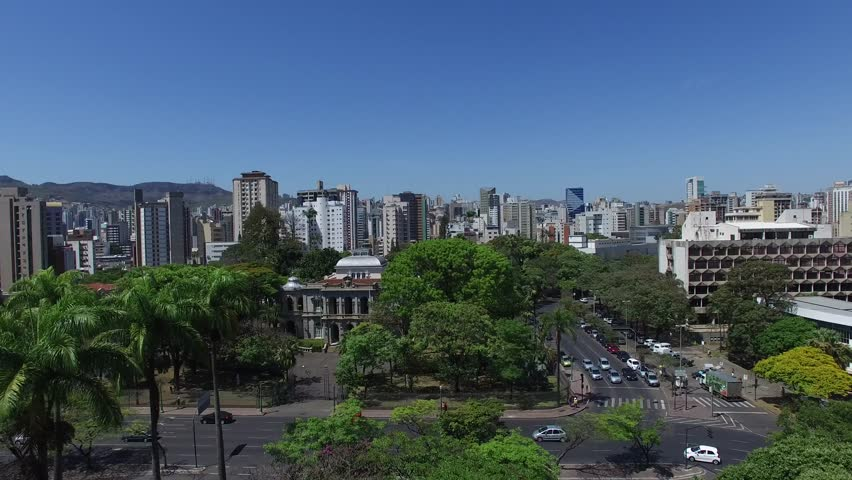 Flying over the Liberty Square in Belo Horizonte, Minas Gerais, Brazil