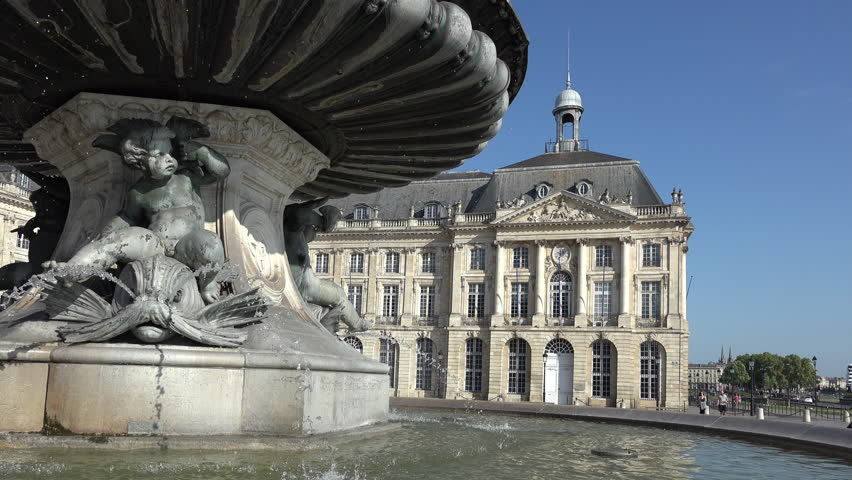the Fountain of the Three Graces in market place of Bordeaux