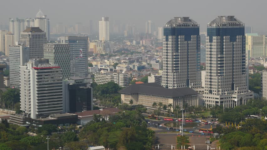 Jakarta,Indonesia - September 04,2015: Jakarta skyline as seen from Monas tower