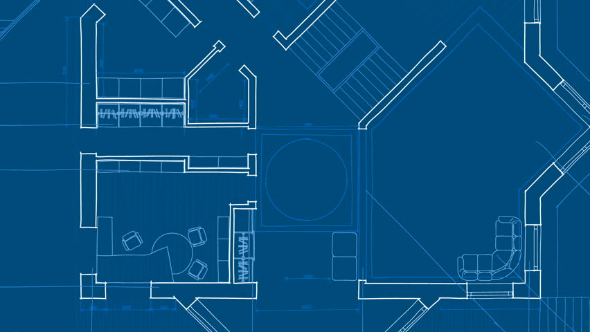 Architecture Blueprints architecture house plan background. blueprint animation. writing