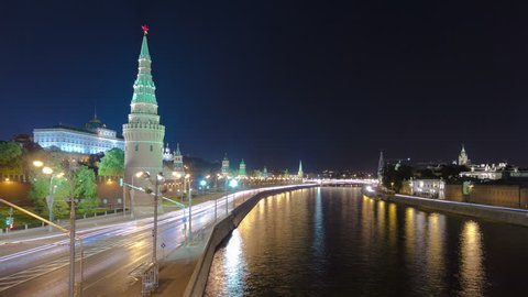 MOSCOW. RUSSIA. A Large Stone (Bolshoy Kamenniy) Bridge. View from the bridge on Moscow Kremlin andthe embankment of the Moscow river. timelapse hyperlapse 4K
