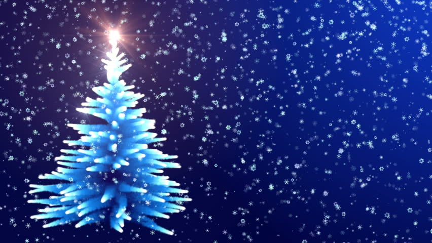 Christmas Tree Glowing Blue Lights With Falling Snowflakes. Stock Footage  Video 12277454 | Shutterstock