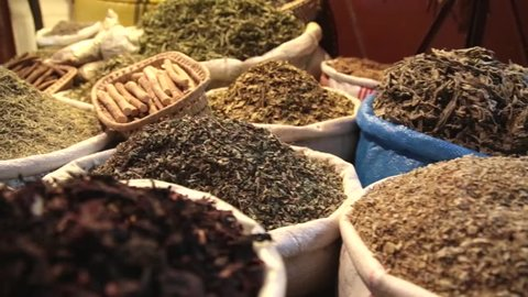 Spices and herbs in Morocco market