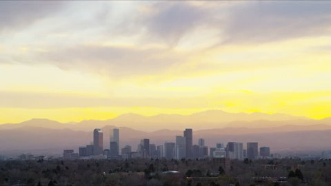 Denver Colorado America USA sunset skyline Panorama skyscraper city Rockies mountain cityscape downtown landscape travel time lapse