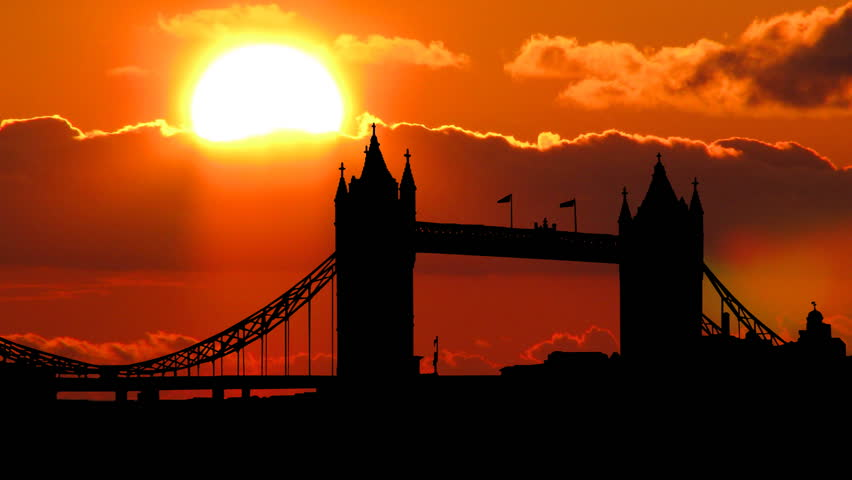 London Tower Bridge with a beautiful cloudy sunset in the background.   Shutterstock HD Video #1230157