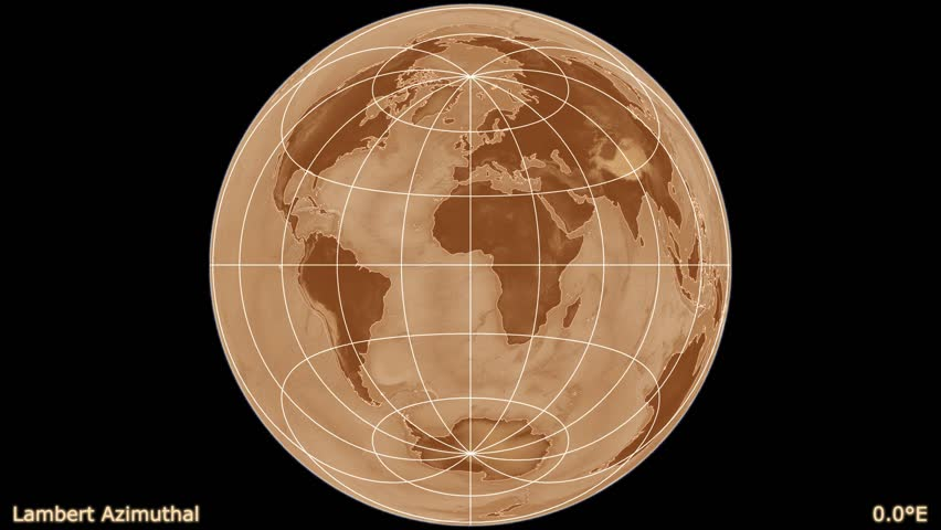 Distortion patterns. Animated world map in the Lambert Azimuthal projection. Shaded elevation map used. Elements of this image furnished by NASA