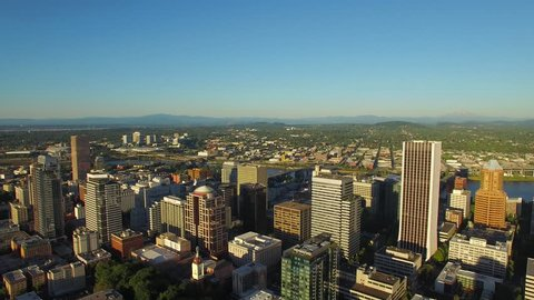 Aerial video of downtown SW Portland in Oregon.