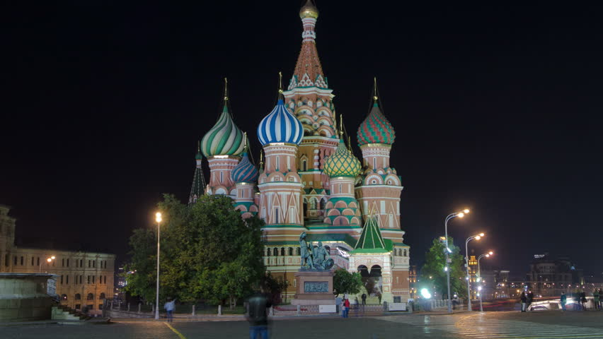 St. Basils cathedral and monument to Minin and Pozharsky at night from Red Square timelapse hyperlapse in Moscow, Russia 4K
