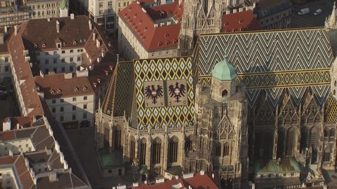 AERIAL WS ZI ZO View of cathedral and cityscape / City of Vienna, Vienna, Austria - 06/16/2015