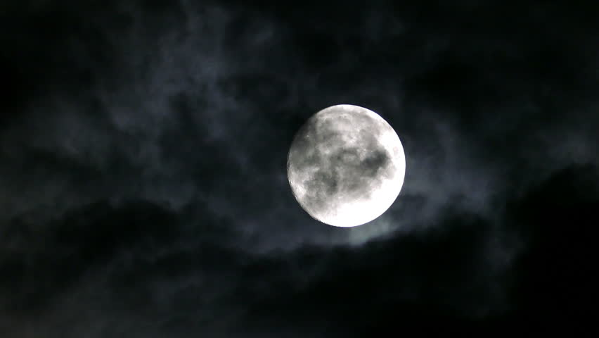 Timelapse with full moon moving between clouds | Shutterstock HD Video #12350894