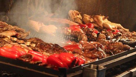 Barbecue in restaurant in Mercado del Puerto in Montevideo, Uruguay