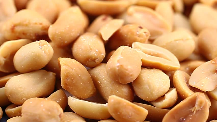 Close up of roasted and salted peanuts