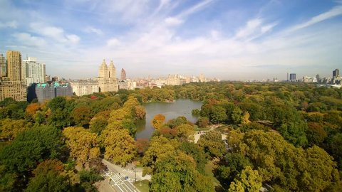 Central Park LAKE VIEW, with rowboats.  Aerial shot of Central Park, New York City
