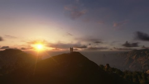 Couple on top of the mountain, timelapse sunrise, camera panning