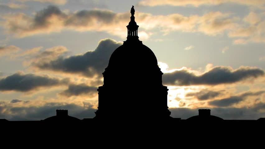 Sunset behind the White House, in Washington DC.