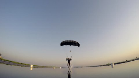 Skydiver landing on water