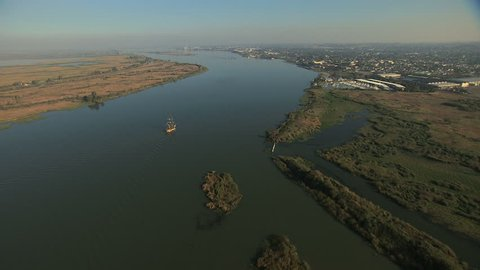 Aerial San Francisco Bay Antioch Sailing ship wetlands