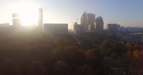 Skyline of The Hague, horizontal pan, early morning, autumn.