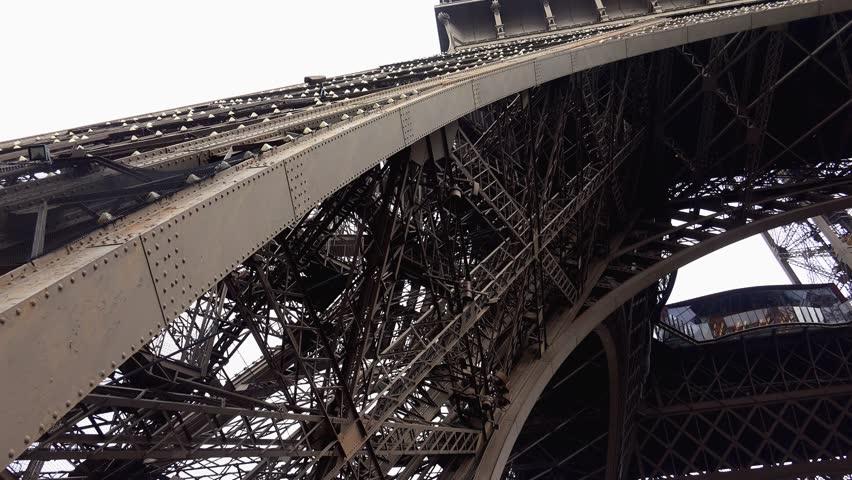 Support (foot) Eiffel Tower in Paris. France. Shot in 4K (ultra-high definition (UHD)). | Shutterstock HD Video #12524984
