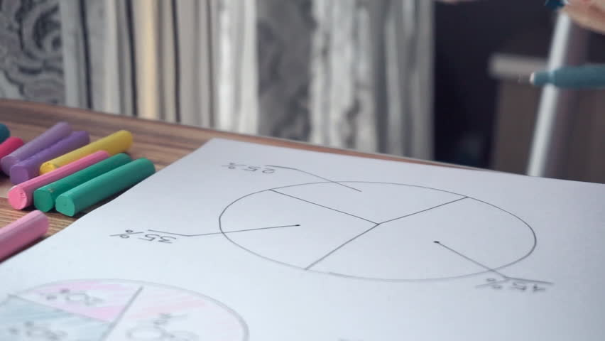 Woman drawing different business math graphs: pie charts, close-up, handheld, 60fps slow motion | Shutterstock HD Video #12538964