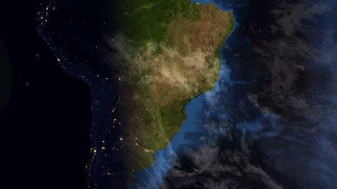 Brazil - South America - Earth Morning Zoom