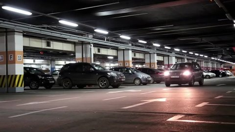 UKRAINE, KIEV, SEPTEMBER 15, 2015: Cars on underground parking inside building