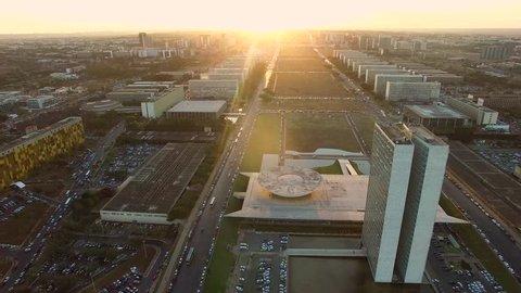 Brasilia sunset aerial, museum