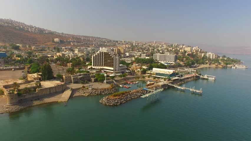 TIBERIAS, ISRAEL - Beautiful 4K aerial view of Sea of Galilee shore on a sunny day. Filmed using a DJI Inspire drone.
