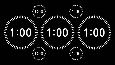 Countdown Animation Intro, Sixty Seconds, White Numbers on Black Background