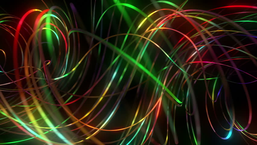 Colorful Neon Spiral Disco Lights On Black Background