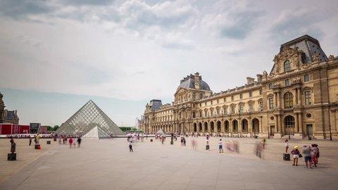 sunny day notre dame de paris crowded tourist square 4k time lapse france