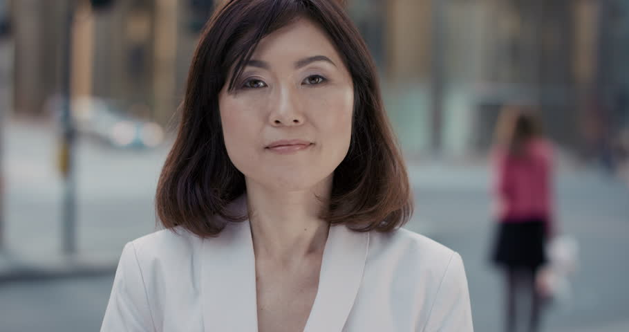 Slow Motion Portrait Of Beautiful Japanese Woman In City -5823