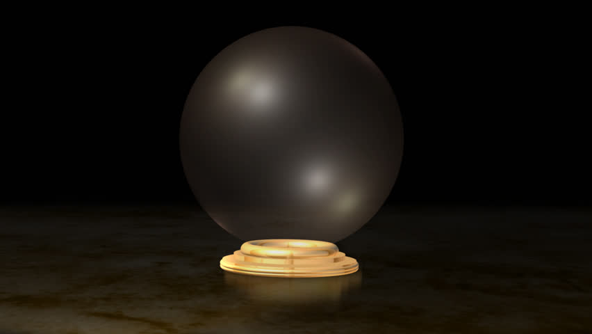 Crystal ball with marble floor and particle transition