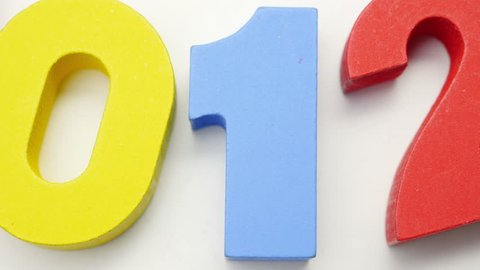 Colorful numbers on white background. Slow counting turn.