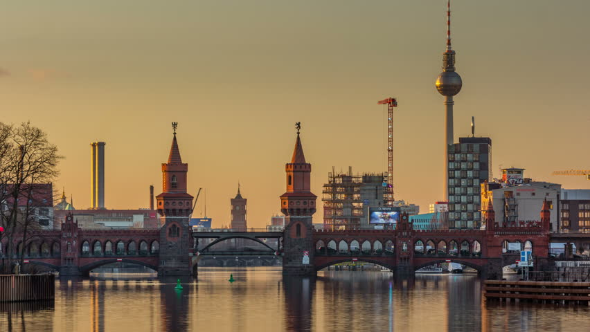 timelapse video of berlin skyline at a sunset 4k timelapse sequence stock footage video. Black Bedroom Furniture Sets. Home Design Ideas