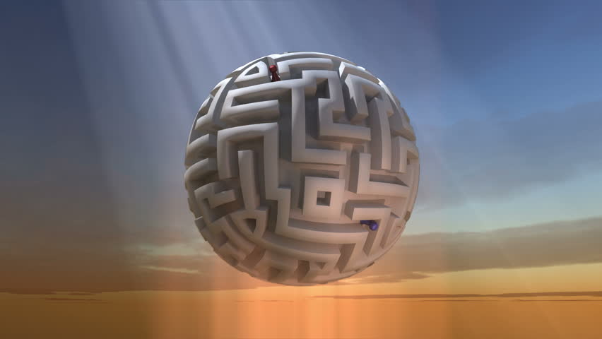 Orbit Around Maze Sphere - the camera orbits around a spherical maze that is hovering in the sky.   Shutterstock HD Video #12729014