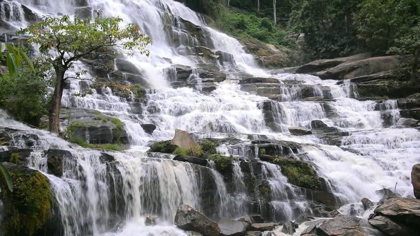 Mae Ya waterfall at Doi Inthanon National Park, Chiangmai, Thailand, 4k video footage.