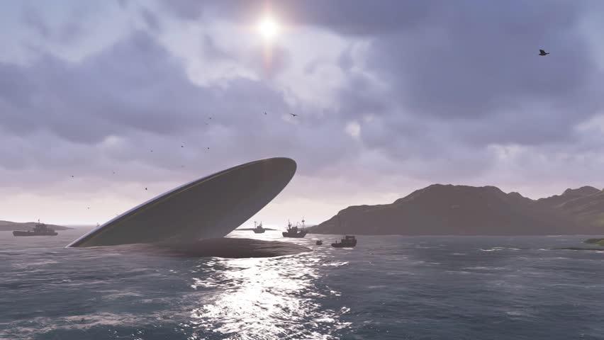 UFO crash into a sea