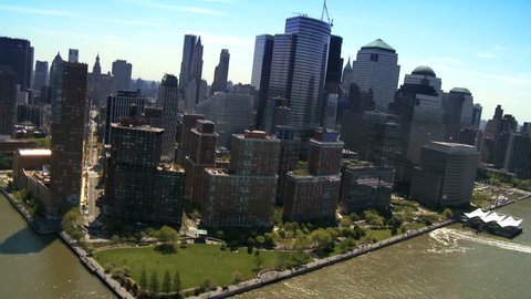 Aerial view of the Financial District, Battery Park and Harbor area Manhattan, New York City, North America, USA