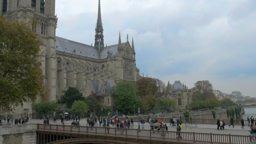 PARIS-OCTOBER 15 : Establishing shot of Notre Dame in Paris. 15 October 2015 | Shutterstock HD Video #12806684
