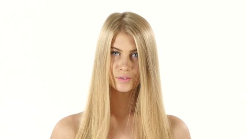 Hair. Beautiful Blond Brushing Her Wet Hair. Hair Care. Spa Beauty Model. white background. Close up, bathroom