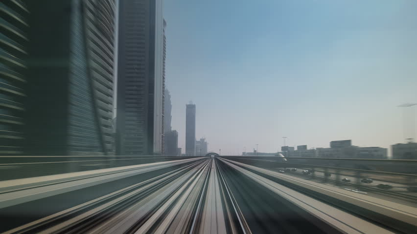 DUBAI, UAE - SEPTEMBER 16: Dubai Metro. A view of the city from the subway car, Dubai, UAE. Timelapse | Shutterstock HD Video #12820334