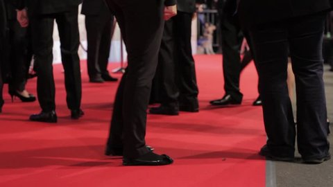 Close up Feet on the Red Carpet at Premiere Event