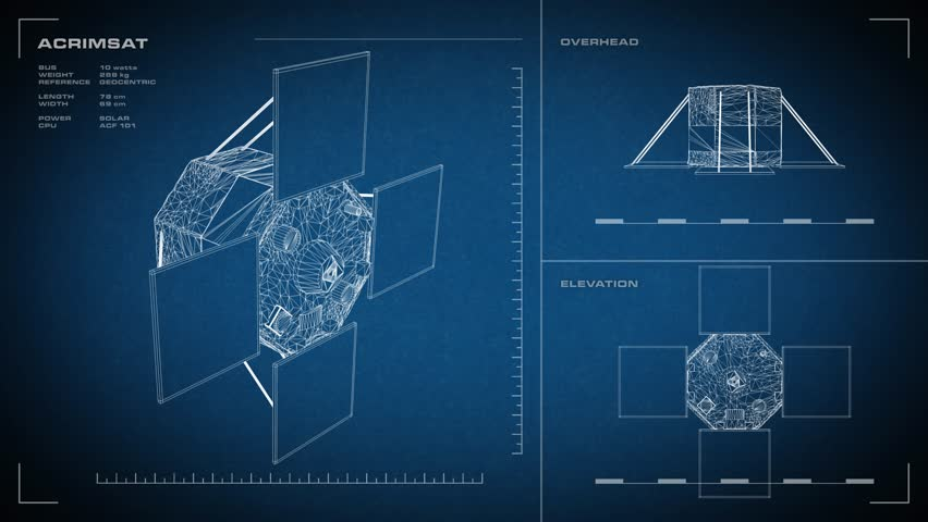 Looping animated orthographic engineering blueprint of kepler looping animated orthographic engineering blueprint of acrimsat spacecraft displayed specs are accurate malvernweather Images