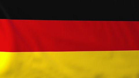 Flag of Germany, slow motion waving. Rendered using official design and colors. Highly detailed fabric texture. Seamless loop in full 4K resolution. ProRes 422 codec.